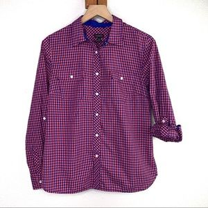Talbots | Gingham Plaid Red Blue Button Down sz 12
